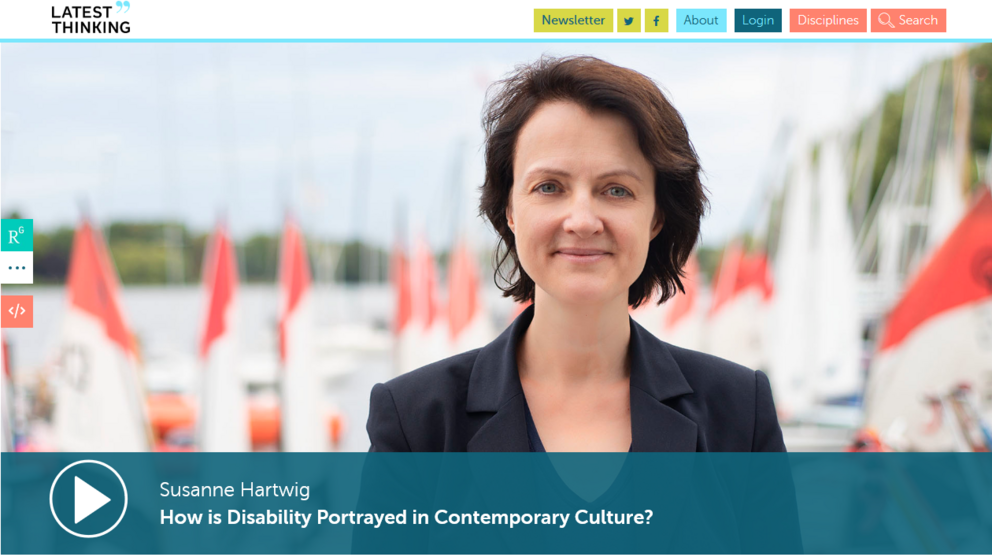 "Internetseite von Latest Thinking - Vortrag ""How is Disability Portrayed in Contemporary Culture"""