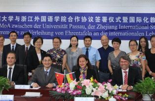Unterzeichnung eines Memorandum of Agreement mit der Zhejiang International Studies University in China, September 2016